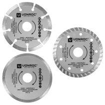 VONROC Diamanttrennscheiben 115mm 3 Stück | Für Winkelschleifer