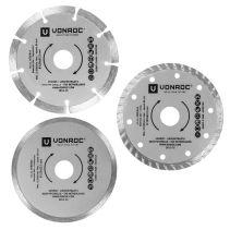 VONROC Diamanttrennscheiben 125 mm 3 Stück | Für Winkelschleifer