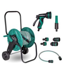 Hose trolley set with 20m garden hose | Incl. 3 nozzles and couplings